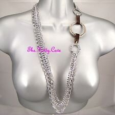 Designer Long Multi-Strand Silver Chains Catwalk Necklace w/ Swarovski Crystals
