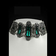 RESTYLE VIVIAN MINT GOTHIC CHOKER. VICTORIAN GOTHIC. GREEN FACETED STONES.