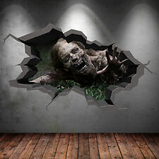 FULL COLOUR 3D DEAD ZOMBIE WALKING APOCOLYPSE CRACKED 3D WALL ART STICKER DECAL
