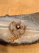 Victorian 10k Gold, Seed Pearl and Diamond Pin Brooch Pendant