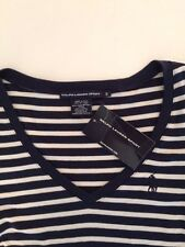 NWT POLO RALPH LAUREN LADIES SS RIBBED V-NECK TEE SHIRT STRIPED SMALL PONY