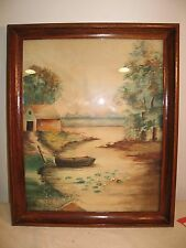 Water Color Painting by Alta Allen Lake Cottage Scene in High Quality Frame