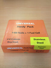 1100 28/50mm STAINLESS STEEL NAILS + 1 GAS FOR PASLODE