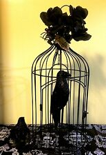 Halloween Black Bird Cage with Glitter Raven JUMBO SIZE [1Ft 10in] Tall!