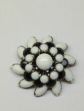 VTG JUDY LEE GOLDTONE MILK GLASS JET BLACK RHINESTONE SPIRAL BROOCH PIN