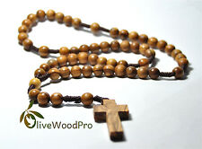OLIVE WOOD ROSARY LARGE ROUND BEADS DESIGNED AND MADE IN HOLY LAND