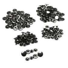 50 Sets Metal Sewing Press Studs Buttons Snap Fastener Popper 15mm Black