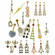Wholesale Bulk Package 36pcs Surgical Steel Gold PVD Jeweled Belly Button Ring