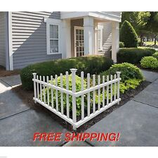 White Corner Fence Picket Vinyl PVC Angled Driveway Garden Accent Outdoor Decor