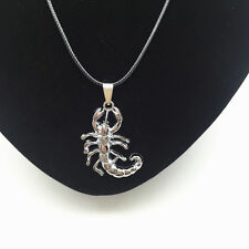 Men's Fashion Jewelry Scorpion Silver Pendant Black Leather Necklace Gift NEW #2