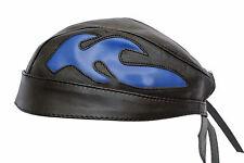 BANDANA nere & blu Fiamme Moto Vera Pelle D'agnello pre-formata pre-annodato
