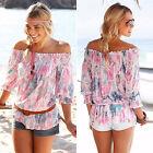 Damen Schulterfrei Sommer Freizeit Strand T-shirt Tunika Top Bluse Oberteile Neu