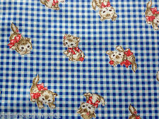 Kitty Gingham Cotton Fabric Fat Quarter Quilt Gate Blue Check Cats Kittens FQ