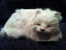 "Dunhung Realistic White Sleeping Cat Kitten Eyes Closed 6"" Real Rabbit Fur CT90"