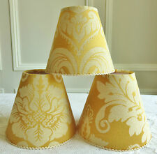 A GLORIOUS GOLD FRENCH CANDLE LAMPSHADE DAMASK MOTIF 11 x 13 cm / 4.3 x 5.1 ins