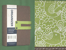 "3x5 POCKET 0.75"" Green FABRIC Day Runner Planner BINDER Franklin Covey FLORAL 76"