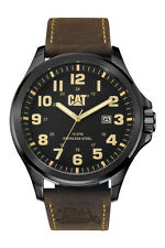 Mens Caterpillar Operator CAT PU16135114 Brown Leather Black Dial W Date Watch