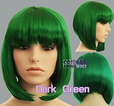 30cm Green Heat Styleable Chic Bob short Cosplay Wigs 91_011