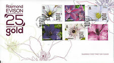 Guernsey 2013 FDC Raymond Evison 25 Years Gold 6v Set Cover Flowers Clematis