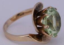 Fine elegant vintage 14K Yellow solid gold & Greenish large Citrin modern ring