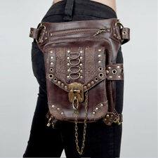 Women/Men Brown Leather Steampunk Mini Waistbag Motorcycle Leg Thigh Holster Bag