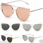 Womens Flat Lens Metal Frame Sunglasses