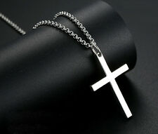 "Mens' Women's Polished Crucifix Cross Pendant 18"" Necklace 925 Sterling silver"
