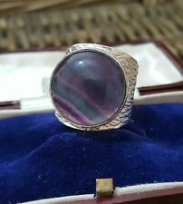 GEMPORIA/TGGC 925 STERLING SILVER RING, LARGE PURPLE BANDED FLUORITE, SIZE R½-S½