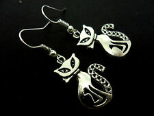 A PAIR OF TIBETAN SILVER DANGLY  CAT  EARRINGS. NEW.