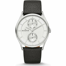 Skagen Mens SKW6065 Grenen Silver Chronograph Dial Black Leather Strap Watch