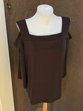 New Chico's Knit Kit Cocoa Bean Brown Cold Shoulder Top Shirt 3 = XL 16 / 18 NWT