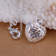 Charming LF Plated 925 Silver Hollow Love Heart Necklace Pendant 2.1*1.5CM