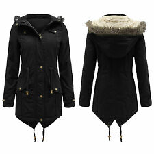 NEW LADIES FAUX FUR HOODED DOVETAIL PARKA JACKET MILITARY COAT 8/22