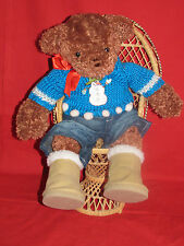 "FIRST & MAIN BROWN BEAR ""TUCKER"" BOOTS-SWEATER-JEANS-SNOWMAN RIBBON 15"""
