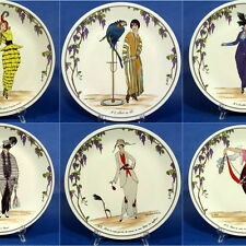 """f823: COMPLETE SET of 6  10½"""" PLATES """"DESIGN 1900"""" by VILLEROY & BOCH LUXEMBOURG"""