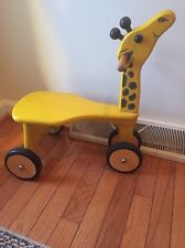 Child's  Wooden Ride On Giraffe Scooter