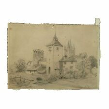 Old Original Victorian Antique Pencil Drawing Three Towers Townscape Signed JR