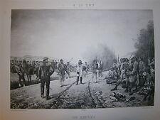 Gravure 19° Un espion par A le Dru  Guerre soldats infanterie Nap III 1870