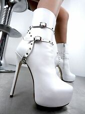 CQ COUTURE ANKLE CUSTOM PLATFORM BOOT STIEFEL STIVALI CHAIN STUD WHITE BIANCO 36