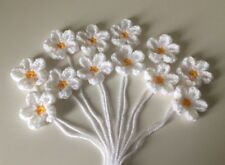 12 Handmade Daisy Flowers Crochet Appliqué, Embellishment, Yellow & White, 4.5cm