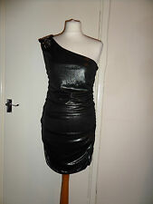 New One Shoulder BAY Party Bead Foil Dress Size UK 14 RRP £30 Bronze