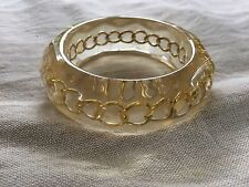Vintage Chunky Clear Lucite Bangle with Gold Chain Inside