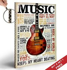 MUSIC INSPIRES ME A4 POSTER Guitar Inspirational Motivational Quotes Decorative