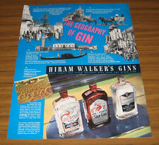 1937 Vintage Ad Hiram Walker's Gins Geography of World