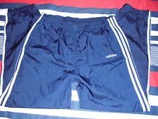 VTG Mens - ADIDAS - 100% NYLON Sweatpants Pants NAVY Blue White - L Large Shiny