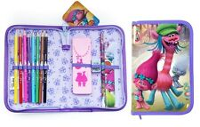 Purple Trolls Filled Junior Kids Girls Pencil Case Stationery Back To School