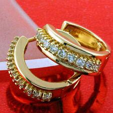 FS654 GENUINE 18K ROSE G/F GOLD SOLID DIAMOND SIMULATED HUGGIE HOOP EARRINGS