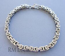 "Men's Stainless Steel Byzantine Chainmaille Box Chain Bracelet Silver 8.5"" 5mm"