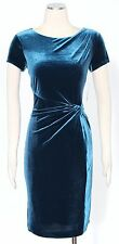 Ellen Tracy Blue Pea Cocktail Sheath Dress Size 6 Polyester Velvet Women's New*
