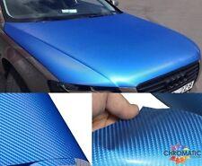 Blue Gloss Carbon Fibre Vinyl 152 x 30cm Roll - 4D Bubble Free Car Wrap Film